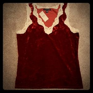 Banana Republic Velvet & Lace Stretch Cami XL NWT